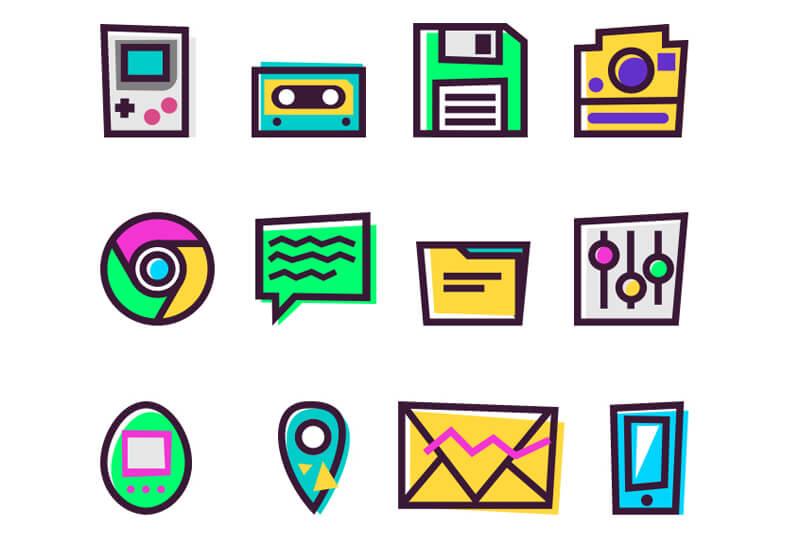 Free Era Of 90'S Vintage Vector Icons1
