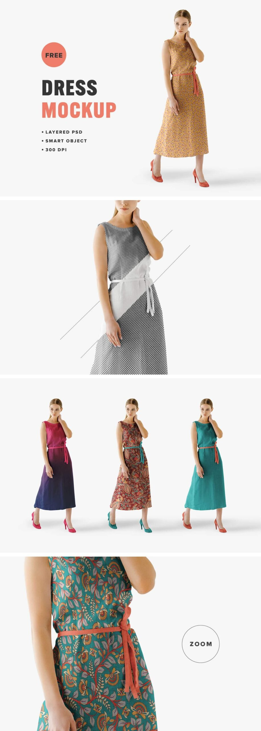 Free Fashionable Summer Dress Mockup PSD Template