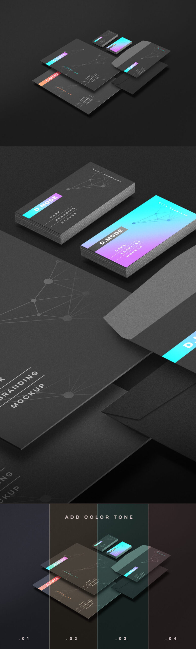 Free Finely Organized Dark Branding Mockup PSD Template