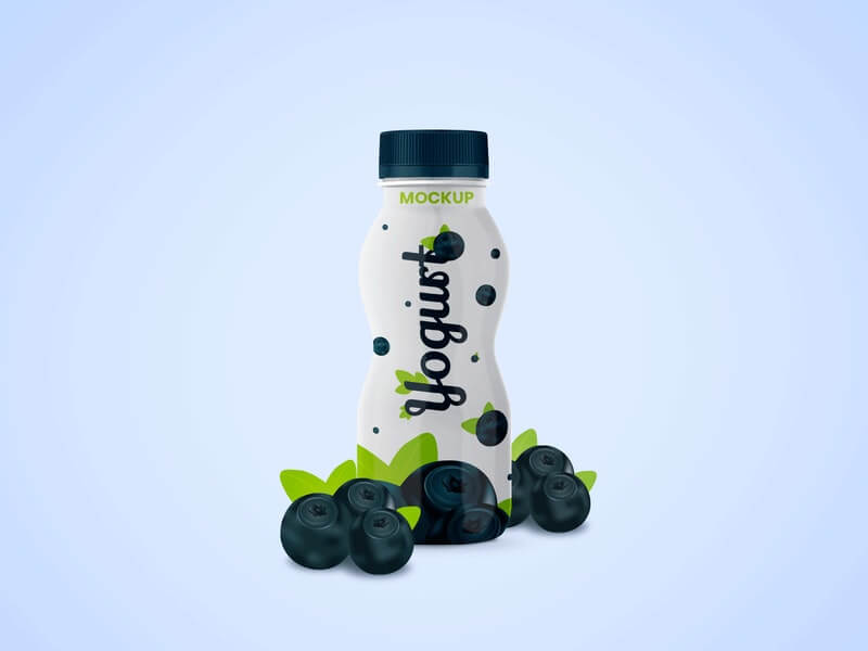 Free Full Yogurt Bottle Mockup PSD Template