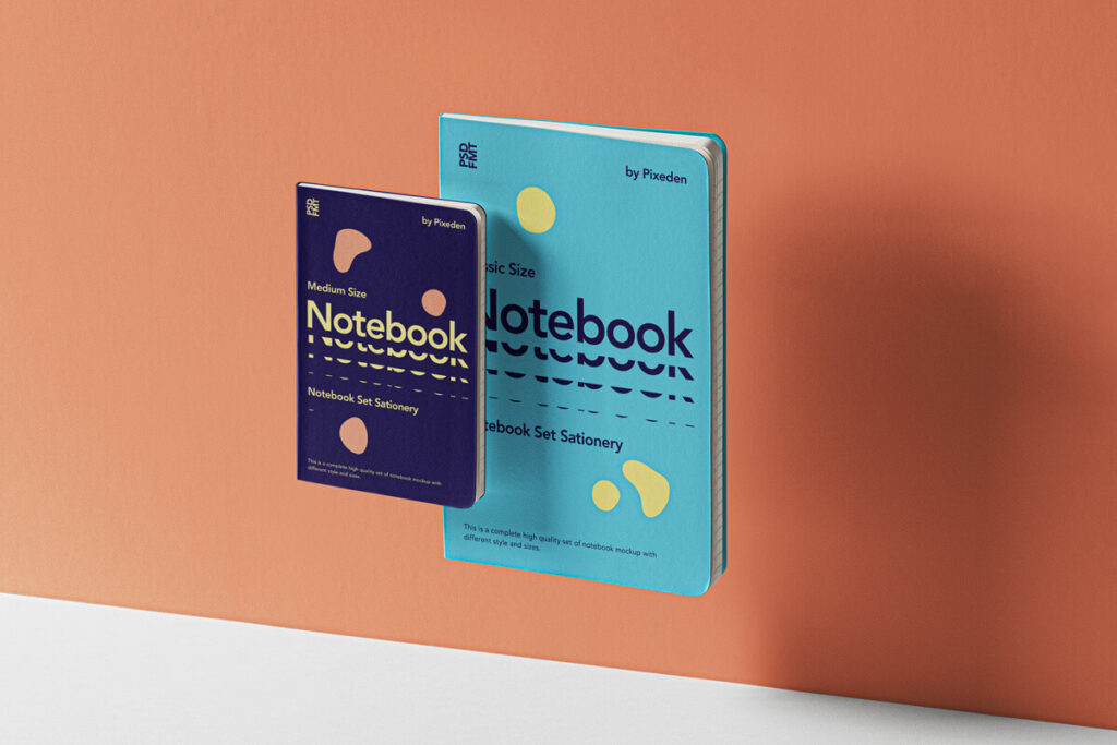 Free Gravity Notebook Set Mockup PSD Template