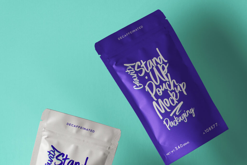 Free Gravity Stand-Up Pouch Packaging Mockup PSD Template