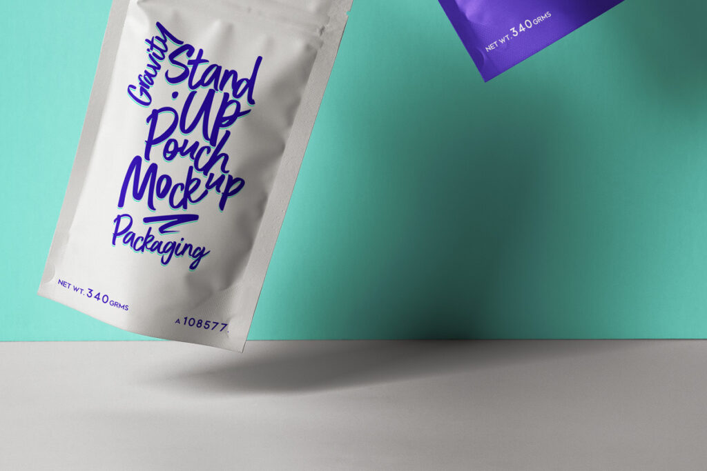 Free Gravity Stand-Up Pouch Packaging Mockup PSD Template1
