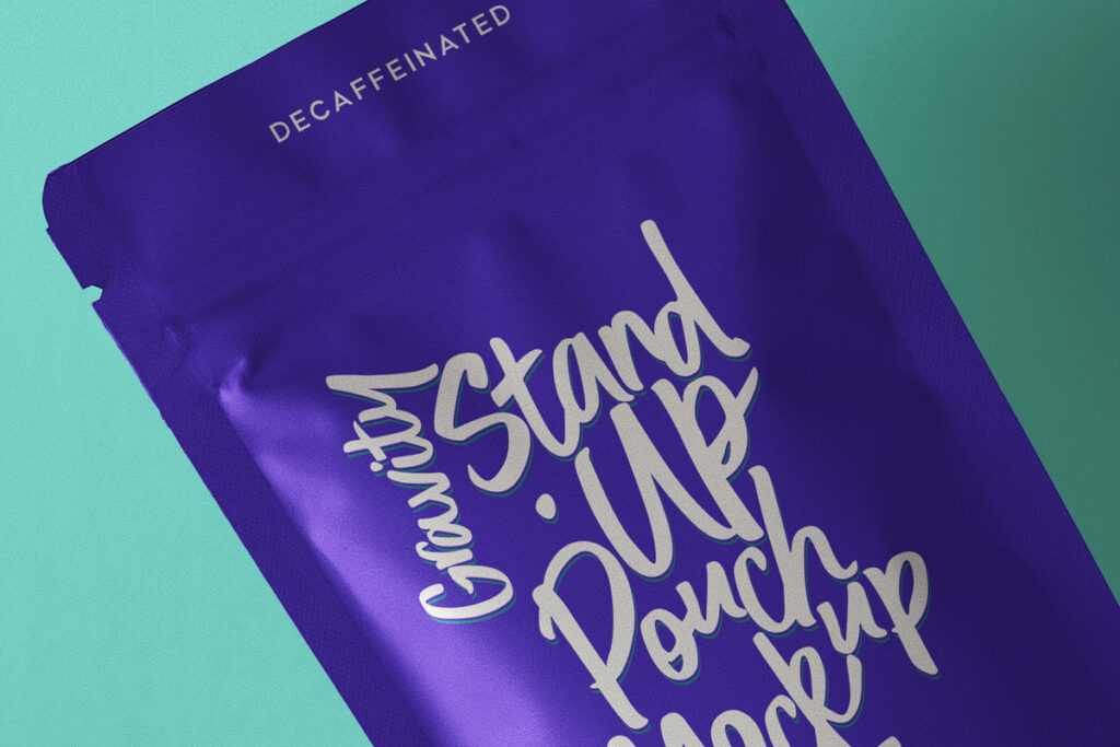 Free Gravity Stand-Up Pouch Packaging Mockup PSD Template2