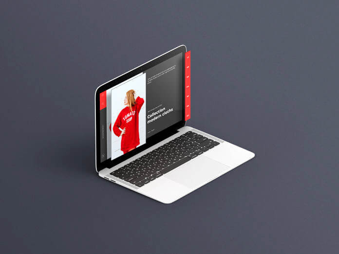 Free Isometric Macbook Mockup PSD Template