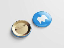Free Metallic Pin Button Mockup PSD Template