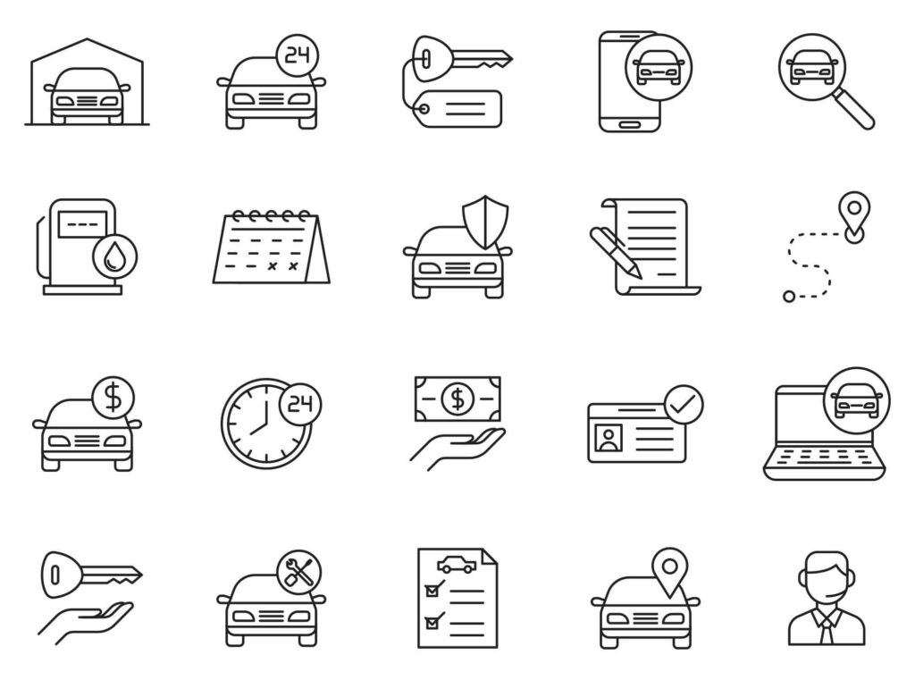 Free Mighty 20+ Car Rent Vector Icons