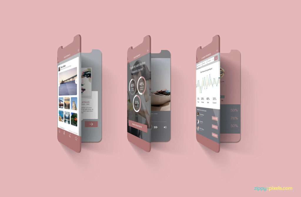 Free Multi Screen Mockups For iPhone PSD Template