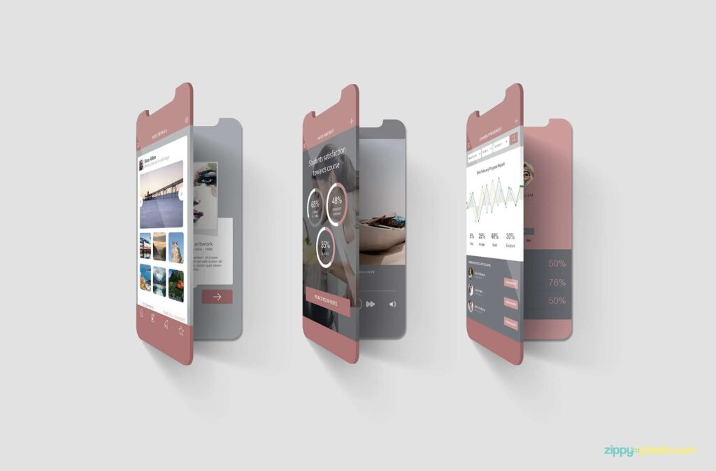Free Multi Screen Mockups For iPhone PSD Template2