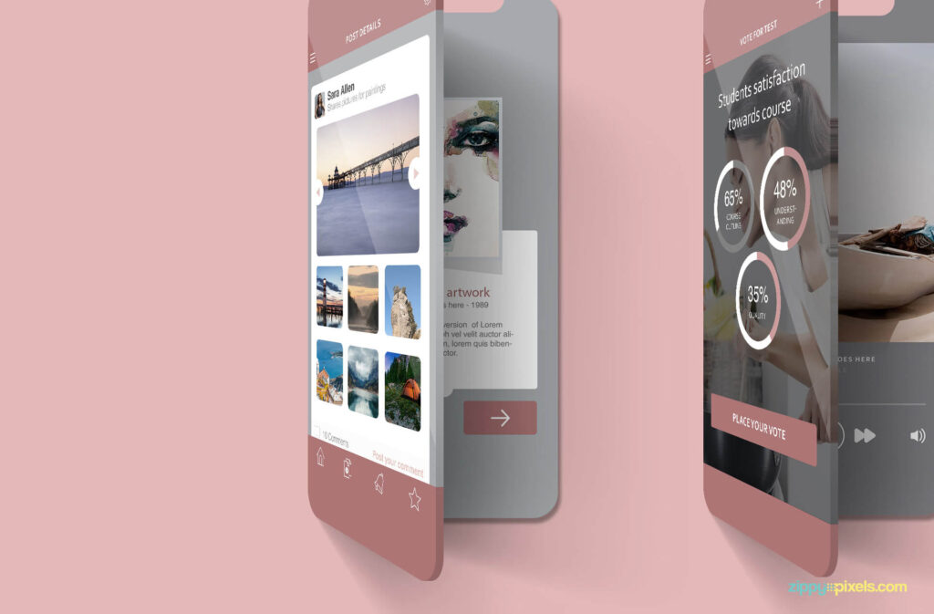 Free Multi Screen Mockups For iPhone PSD Template4