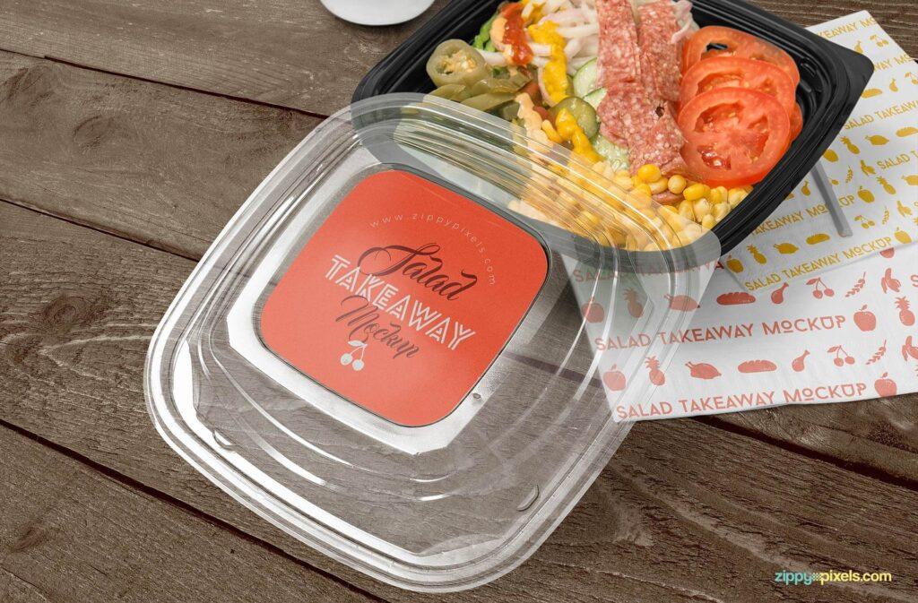 Free Oblong Food Box Branding Mockup PSD Template