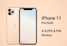 Free Obvious iPhone 11 Pro Gold Mockup PSD Template