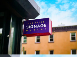 Free Outdoor Store Signage Mockup PSD Template