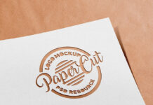 Free Paper Cutout Logo Mockup PSD Template