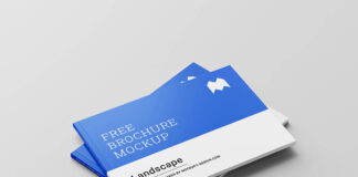 Free Perfect Binding Landscape Brochure Mockup PSD Template