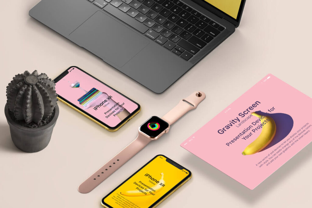 Free Perspective Project Devices Showcase Mockup PSD Template