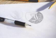 Free Photorealistic Logo Sketch Mockup PSD Template