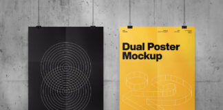 Free Professional Dual Poster Mockup PSD Template