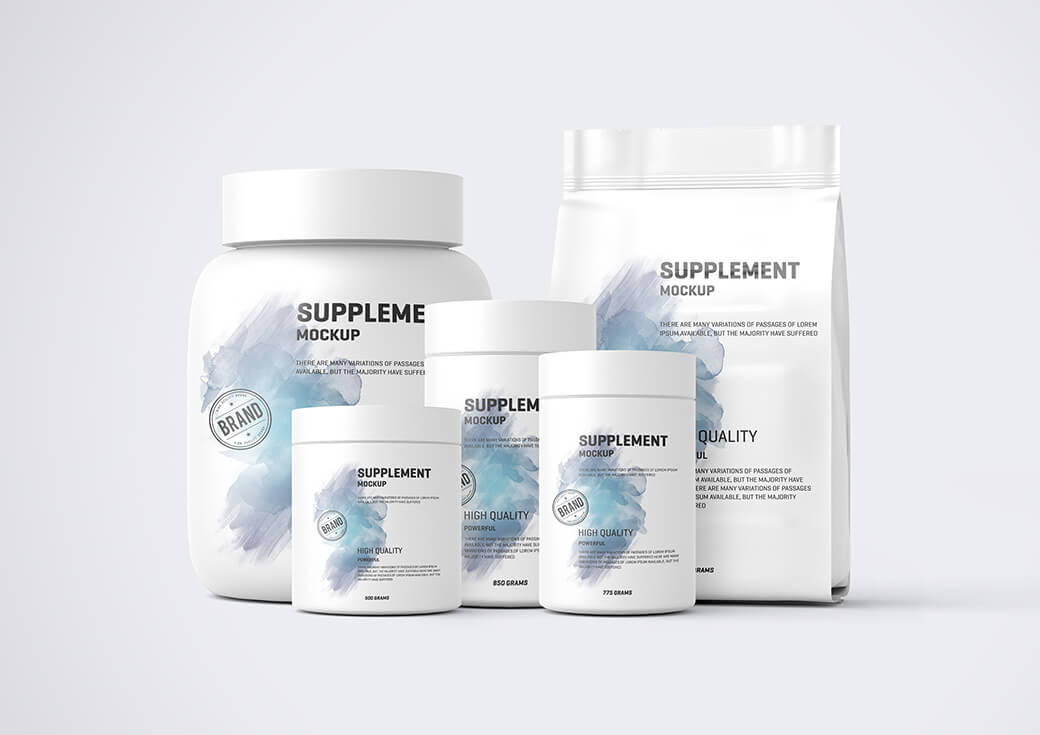 Free Protein Pack And Jar Mockup PSD Template