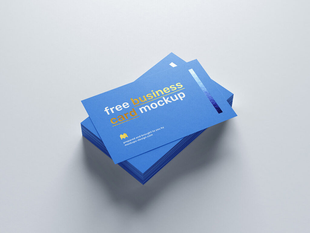 Free Realistic Foil Business Card Mockup PSD Template2