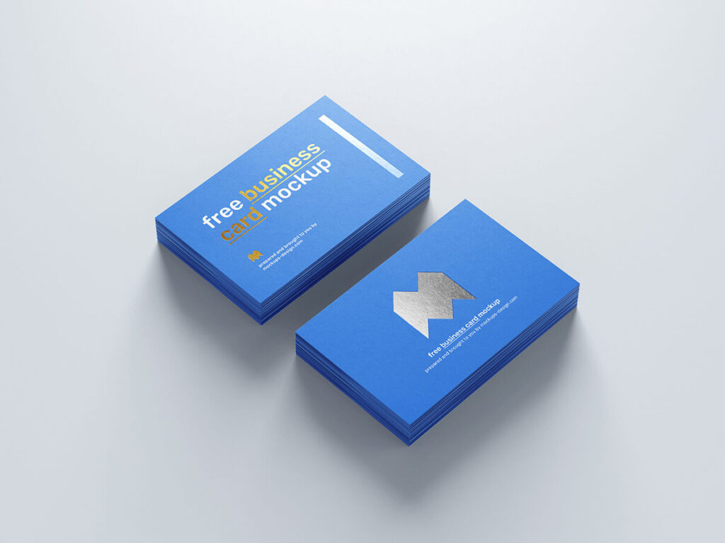 Free Realistic Foil Business Card Mockup PSD Template3