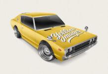 Free Retro Sport Car Mockup PSD Template