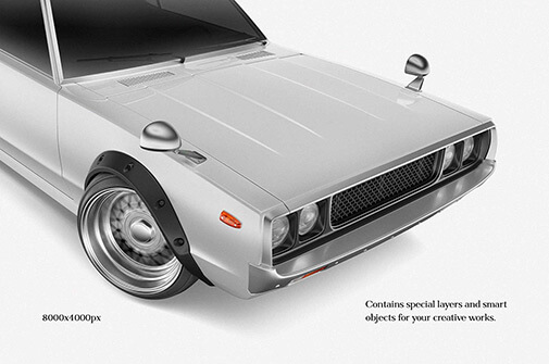 Free Retro Sport Car Mockup PSD Template1