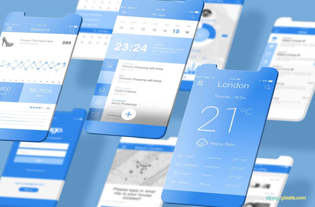 Free Socialist Latest iOS App Mockups PSD Template2