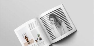 Free Square Magazine Brochure Mockup PSD Template