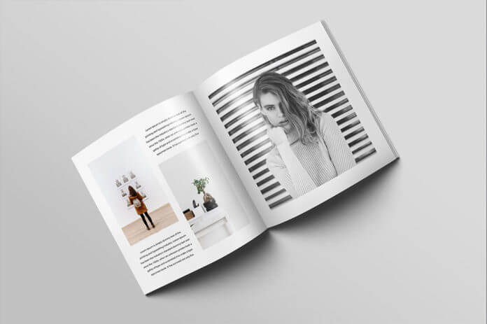 Free Square Magazine Brochure Mockup PSD Template