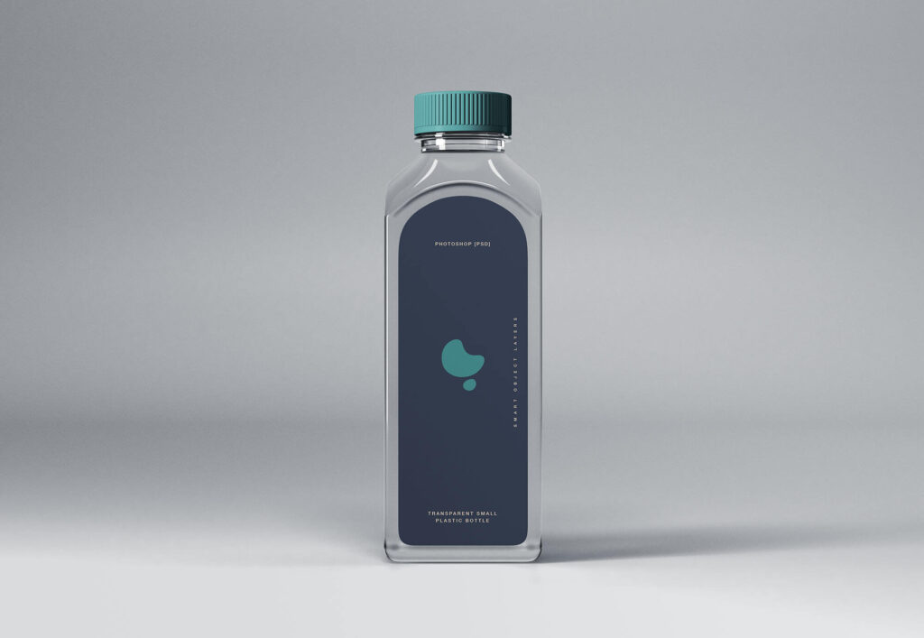 Free Transparent Small Plastic Bottle Mockup PSD Template
