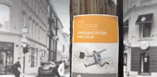 Free Utility Pole Flyer Poster Mockup PSD Template