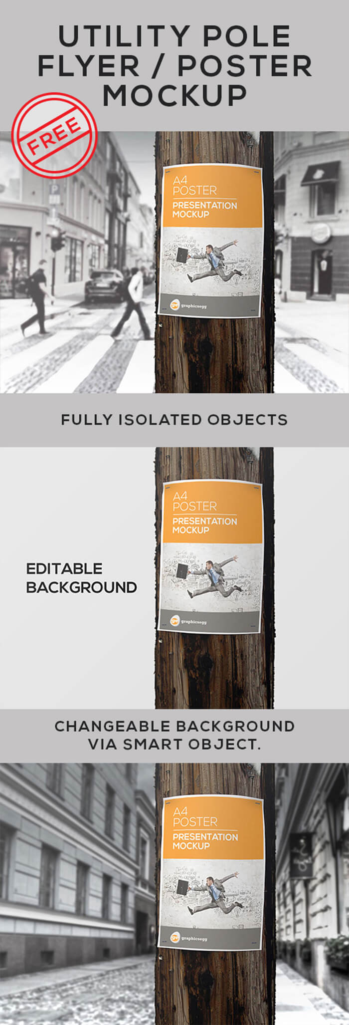 Free Utility Pole Flyer Poster Mockup PSD Template1