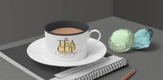 Free Victorian Tea Cup Mockup Scene PSD Template