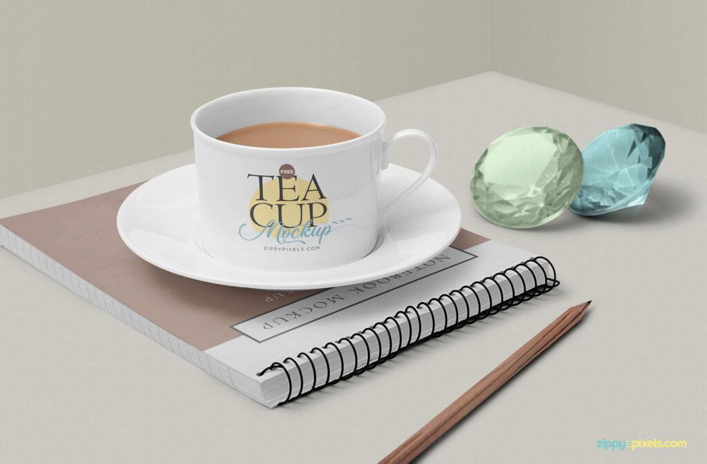Free Victorian Tea Cup Mockup Scene PSD Template2
