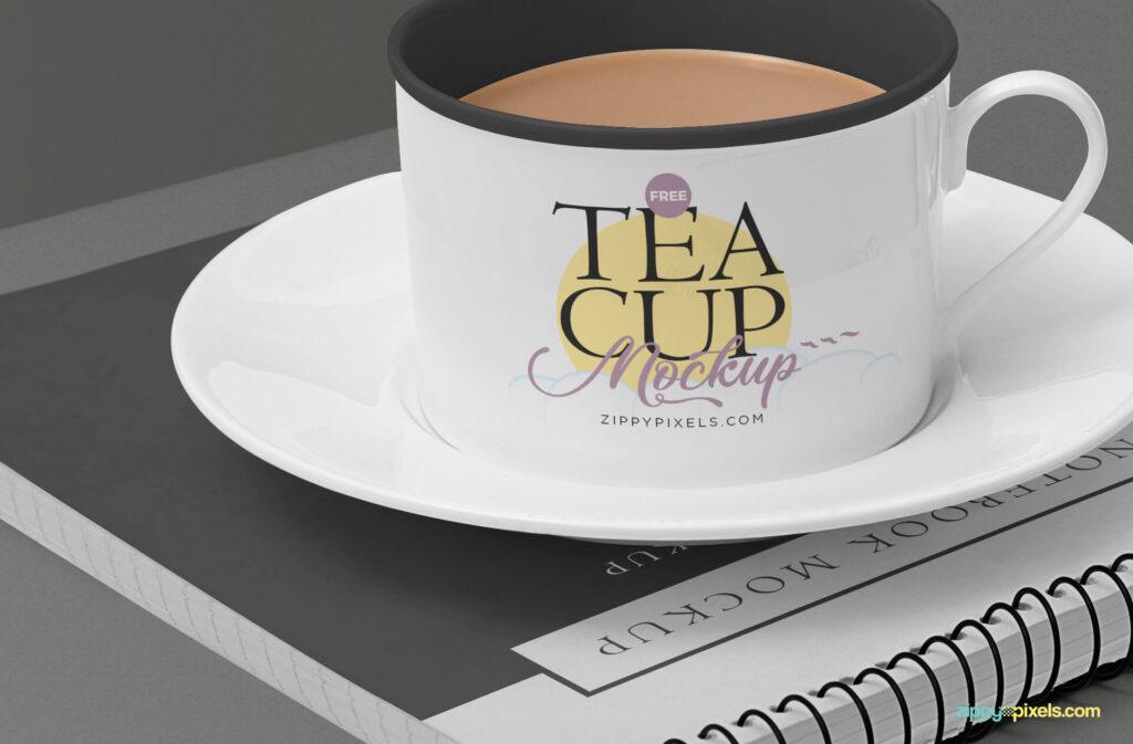 Free Victorian Tea Cup Mockup Scene PSD Template3