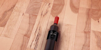Free Wine Bottle Mockup On Wooden Floor PSD Template