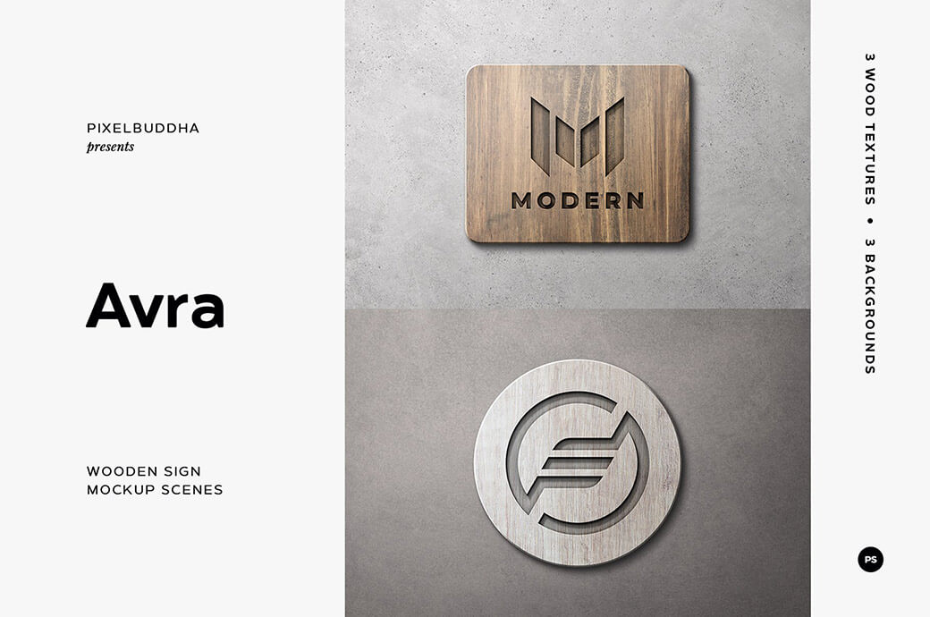 Free Wooden Sign Mockup Scenes PSD Template