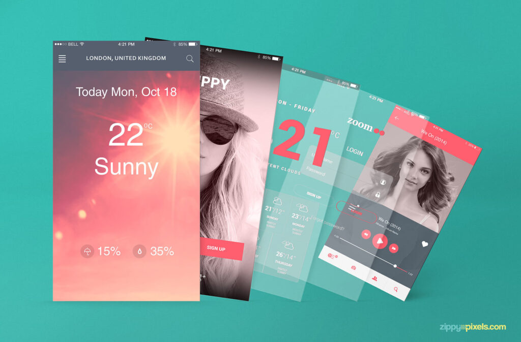 Free iOS App Presentation Mockups PSD Templates3