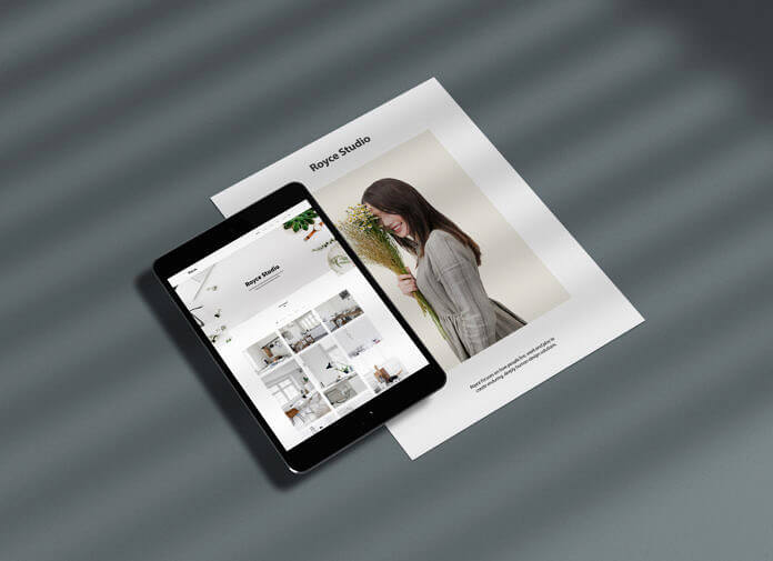 Free iPad with Paper Mockup PSD Template