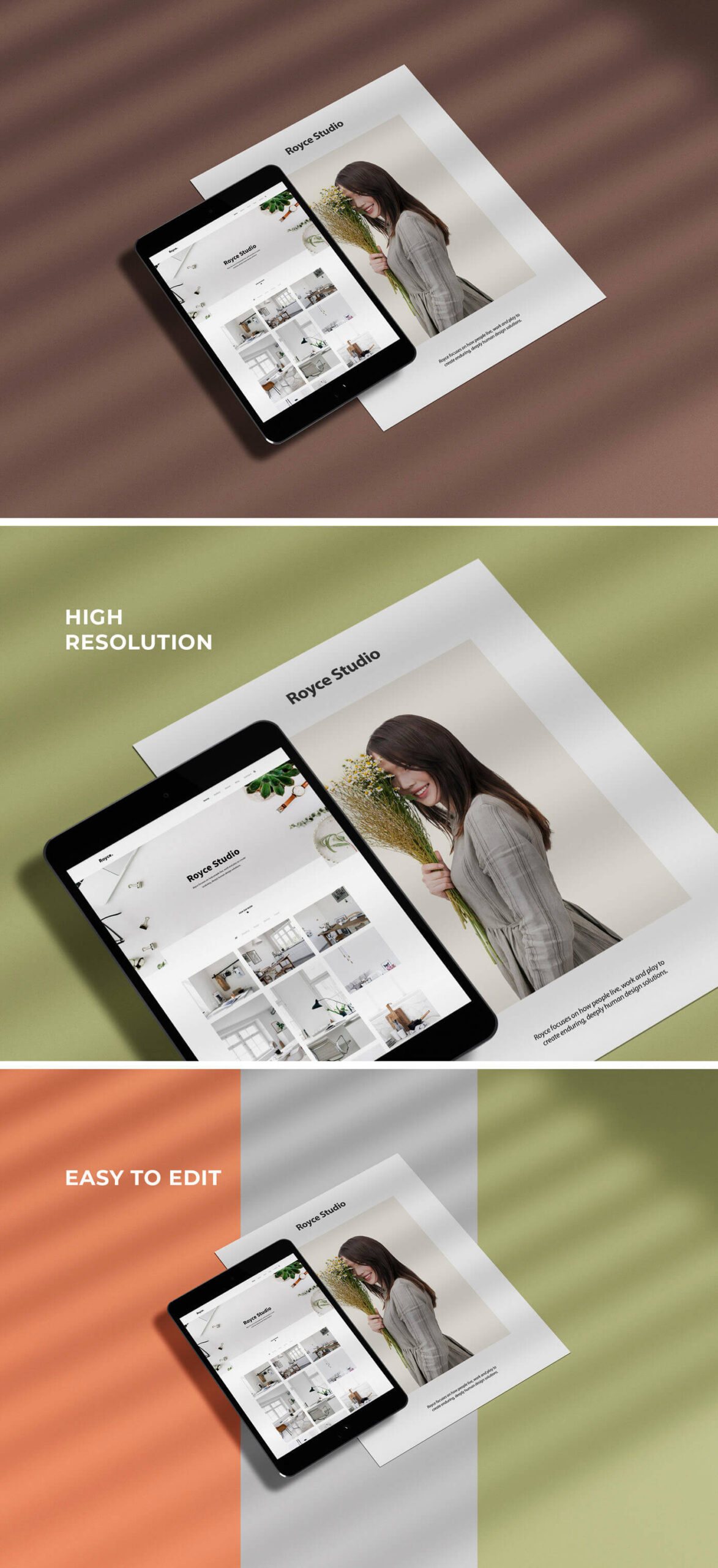 Free iPad with Paper Mockup PSD Template1