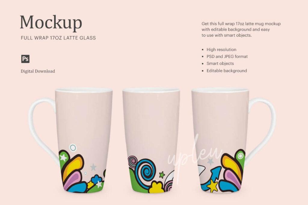 Full Wrap 17oz Latte Mug Mockup
