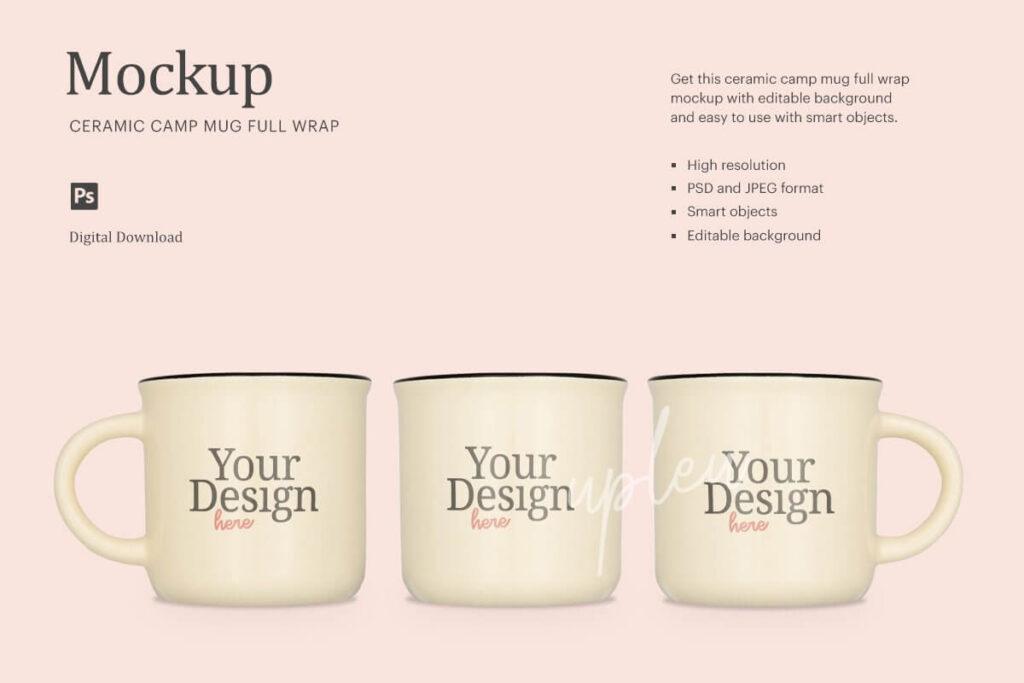 Full Wrap Camp Mug Cream Mock Up