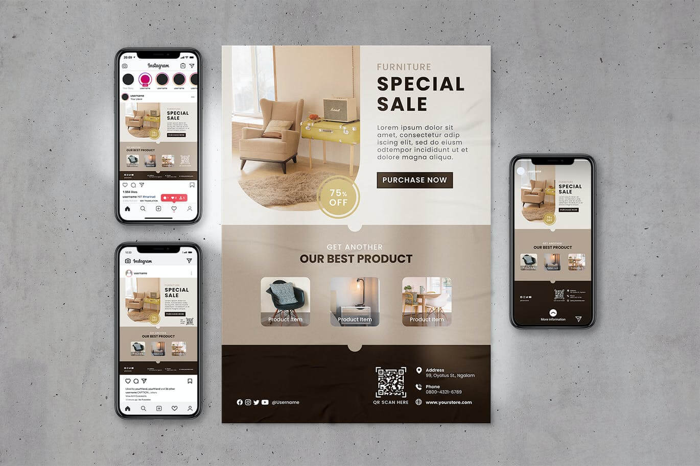 Furniture Poster & Instagram Template