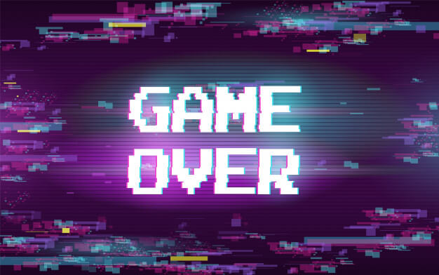 Game over with glitch effect Free Vector