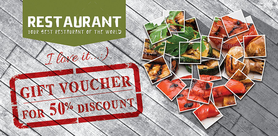 Gift Voucher in the Restaurant. Template