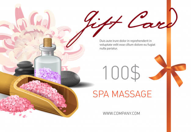 Gift card, spa massage lettering and salt in scoop. spa salon gift voucher Free Vector (1)