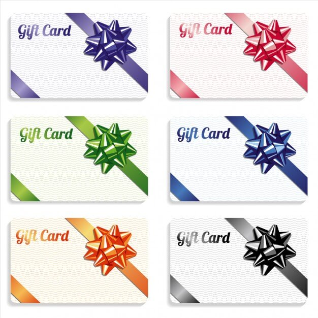 Gift card with ribbon different color set Free Vector