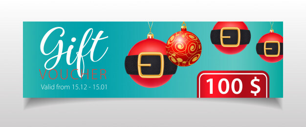 Gift voucher lettering and christmas baubles with belts Free Vector (1)