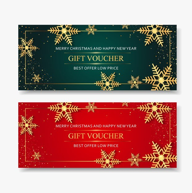Gift voucher merry christmas template with snowflakes gold. Premium Vector (1)